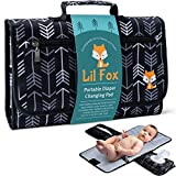 Baby Changing Pad by Lil Fox. Portable Changing Pad for Baby Diaper Bag or Changing Table Pad. One-Hand Diaper Change Pad. Baby Shower Gifts, Newborn Baby Essentials, Unisex Baby Stuff