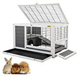COZIWOW Indoor Outdoor Rabbit Hutch,Small Animal Houses & Habitats, Large Bunny Cage with Removable Tray, Single Level Guinea Pig Hamster Hutch