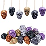 Sfcddtlg 30 PCS Halloween Colorful Mini Hanging Skull Heads-Halloween Foam Hanging Skeleton Head Decoration-Halloween Hanging Ornament for Halloween Party Supplies Prank Props Toys Gift(30PCS)