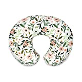 Boppy Nursing Pillow and Positioner—Original | Pink Garden Flowers | Breastfeeding, Bottle Feeding, Baby Support | with Removable Cotton Blend Cover | Awake-Time Support , 20x16x5.5 Inch (Pack of 1)