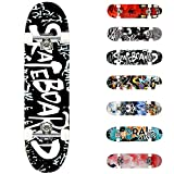 WeSkate Standard Skateboards for Kids 31x7.88 Complete Skateboard for Boys Girls Teens, 7 Layer Canadian Maple Double Kick Concave Cruiser Trick Skate Board for Beginners Youth Adults