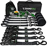 RHINO USA Ratchet Straps Tie Down Kit, 5,208 Break Strength - Includes (4) Heavy Duty 1.6' x 8' Rachet Tiedowns with Padded Handles & Coated Chromoly S Hooks + (4) Soft Loop Tie-Downs (Black 4-Pack)