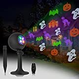 Halloween Lights, Projector Decorations Outdoor Indoor LED Projection Light with 4 Dynamic Patterns Show Holiday Landscape Outside Spotlight for Party House Wall Gate