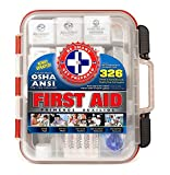 First Aid Kit Hard Red Case 326 Pieces Exceeds OSHA and ANSI Guidelines 100 People - Office, Home, Car, School, Emergency, Survival, Camping, Hunting and Sports