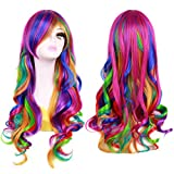 BERON Stylish Long Wavy Rainbow Wig Curly Costume Colorful Wig for Women and Girls Anime Costume Halloween Cosplay Heat Resistant Wig