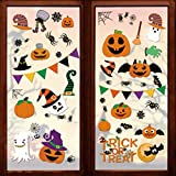 232 Pcs Halloween Decorations Window Clings Decals, 10 Sheet Large Halloween Black Spiders/ Cute Pumpkins Stickers Decorations, Halloween Window Stickers for Kids/ School/ Home/ Office Supplies