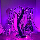 kemooie 20 Inch 80 Led Tabletop Halloween Willow Tree Lights with Purple Bat Ornaments, Battery Operated Black Lighted Tree, Purple Halloween Decorations Desk Pre-lit Table Setting Party Decorations