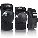 PHZ. Knee Pads Kids Adult Elbow Pads Wrist Guards 3 in 1 Protection Gear Set for Skating Cycling Bike Rollerblading Scooter Skateboard Inline Roller Riding BMX Bicycle