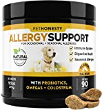 PetHonesty Allergy Support Supplement for Dogs - Omega 3 Salmon Fish Oil, Colostrum, Digestive Prebiotics & Probiotics - for Seasonal Allergies + Anti Itch, Skin Hot Spots Soft Chews (Salmon)