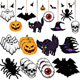 24 Pieces Halloween Wooden Hanging Ornaments Wooden Pumpkin Ghost Witch Hat Spiders Bats Ornaments Halloween Wood Hanging Signs,Halloween Wooden Decors with Rope for Halloween Party Decoration