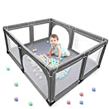 YOBEST Baby Playpen, Extra Large Playard, Indoor & Outdoor Kids Activity Center with Anti-Slip Base, Sturdy Safety Play Yard with Super Soft Breathable Mesh, Fence Play Area for Babies, Toddler