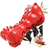 Rmolitty Squeaky Dog Toys for Aggressive Chewers, Tough Dog Chew Toys for Aggressive Chewers Indestructible Durable Dog Chew Toys for Large Medium Breed Dog with Non-Toxic Natural Rubber (Hippo-red)