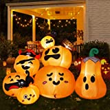 HOOJO 6 FT Pumpkins 7 PCS Halloween Inflatables Outdoor Decoration with Build-in LED Lights, Blow Up Inflatables Yard Decoration for Halloween Holiday Party Yard Garden Lawn