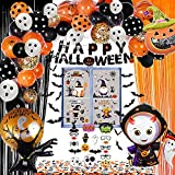 FVABO Halloween Party Decorations - Halloween Party Supplies Include Balloons Garland Arch, Banner, Photo Booth Props, Window Clings, 3D Bat, Confetti, Curtain, Kids Happy Halloween Decorations Indoor