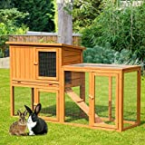 U-MAX Rabbit Hutch 54.3 inch Upgraded Wooden Outdoor Large Rabbit House Bunny House with Open Roof, Removable Tray & Ramp