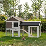 Kinsuite Rabbit Hutch Outdoor Bunny Cage with Tray Indoor Wooden Rabbit Cage House for Small Animals