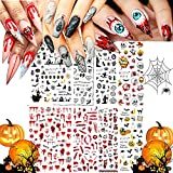 8 Sheets Nail Art Stickers Decals, 3D Self-Adhesive DIY Nail Art Supplies for Nail Decorations Designer, Nail Tattoos for Halloween Party, with Flame/Moon/Eyes/Snake Pattern Nails Designs Accessories