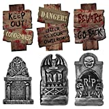 AuLinx 6 Pack Halloween Yard Signs Halloween Corrugated Yard Stake Signs Outdoor Props Decorations with Stakes for Halloween Yard/Lawn Decorations (tombstone-01)
