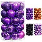 Lulu Home Halloween Hanging Ornaments, 34 Count Pre-Strung Plastic Balls, Shatterproof Barrel Packed Balls for Holiday Halloween Party Wreath Tabletop Tree Decorations, 1.57 Inch, Dark Purple