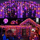Halloween Lights Outdoor 1280 LED 132ft Curtain String Light with 240 Drops, Fairy Halloween Lights Indoor Decor with 8 Modes Memory Timer for Home Window Halloween Party Decorations (Purple & Orange)