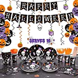 Decorlife Halloween Party Supplies Serves 16, Halloween Party Decorations Total 168 PCS, Includes Plates and Napkins, Popcorn Boxes, Tablecloth, Pre-strung Banner, Hanging Swirls