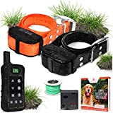 Pet Control HQ Wireless Pet Containment System w/ 2 Rechargeable Waterproof Shock Collars, Safe Perimeter Electric Dog Fence Wire & Remote Dog Training – Above No Dig or Underground Wire Fence