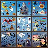 Frantie 239Pcs Halloween Window Clings, 9 Sheets Double-Side Removable Halloween Window Stickers Glass Decals for Party Decorations, Pumpkin Spider Bat Ghost Witch Window Décor, Happy Halloween Window Clings for Kids