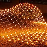 Funpeny Halloween 200 LED Net Lights, 9.8ft x 6.6ft 8 Modes Waterproof Connectable Halloween Decorations for Outdoor Garden Party Decor (Orange)