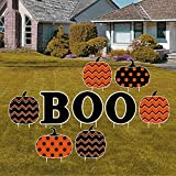 Bunny Chorus 9 Pcs Halloween Decorations Outdoor Yard Signs with Stakes, 13 inches Black Boo Letters and Pumpkins Decor for Halloween Yard Lawn Party