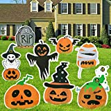 joybest Halloween Decorations Outdoor, 8Pcs Extra Large Pumpkins Ghost Corrugate Yard Signs with Stake, Halloween Yard Lawn Decorations Trick or Treat Props