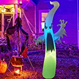 GOOSH 6 FT Height Halloween Inflatable Outdoor Colorful Dimming Ghost, Blow Up Yard Decoration Clearance with LED Lights Built-in for Holiday/Party/Yard/Garden