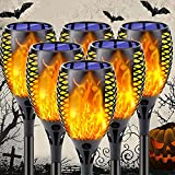 6-Pack Solar Flame Torch (Larger Size), Super-Bright Solar Lights Outdoor Decorative with Flickering Flame, Solar Outdoor Lights for Halloween Decorations Garden Pathway Party