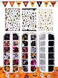 Halloween Nail Art Glitter Stickers Decoration Kit, Tufusiur 3 Boxes Holographic Nail Sequins 3 Sheets Acrylic Nail Decals Pumpkin Bat Ghost Witch Skull Spider Stickers for DIY Halloween Supplies