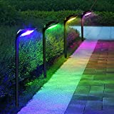 ROSHWEY Solar Lights Outdoor 7 Color Changing Halloween Garden Decorative Pathway Lights with 12LED Waterproof Bright Christmas Solar Landscape Path Lamp for Lawn Yard Walkway Driveway, 4 Pack