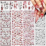 8 Sheets Halloween Nail Art Stickers 3D Halloween Nail Decals Self-Adhesive DIY Nail Art Decorations Horror Red Bloody Wound Blood Skull Joker Spider Nail Sticker for Women Kids Girls Manicure