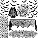 Colovis 40Pcs Halloween Decorations Indoor Set, Halloween Table Decoration for Home, Fireplace Mantel Scarf, Spiderweb Table Runner, Table Cover, Cobweb Lampshade, Placemat & 3D Bat for Party Decor