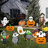 HOOJO Halloween Yard Stake Signs Decorations Outdoor 9 Pcs,Halloween Props Trick Or Treat Sign for Garden, Lawn, Yard Decorations Outside
