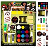 Spooktacular Creations 12 Color Special Effect Makeup Kits, 25 PCS Halloween Family Makeup Kit, Face Body Paint, Halloween Cosplay Makeup, Easy On & Easy Off Makeup Set for Halloween Party Supplies