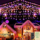 Halloween Lights Outdoor Orange & Purple 400 LED 33ft Halloween Curtain String Light with 75 Drops, Plug in & 8 Modes Clear Wire Fairy Lights Indoor Decor for Home Halloween Party Outdoor Decorations