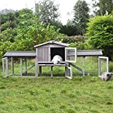 Rabbit Hutch Indoor Outdoor Bunny Cage with Large Run,Wooden Small Animal House Upgrade with Bottom PVC Layer,Waterproof Roof