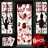 """8Pcs Halloween Window Door Decoration Covers Set,Includes 4Pcs 60x30"""" Window Clings&2Pcs 80x36"""" Door Posters with 2 Pcs Scary Bloody Handprints Stickers, Indoor and Outdoor Halloween Décor for Party"""