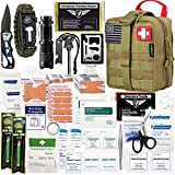 EVERLIT 250 Pieces Survival First Aid Kit IFAK Molle System Compatible Outdoor Gear Emergency Kits Trauma Bag for Camping Boat Hunting Hiking Home Car Earthquake and Adventures (Tan)