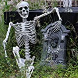 Shan-S Halloween Party Decoration for Prank Toy Home Party Decoration Poseable Full Size Human Skull Skeleton Prop Model Anatomical Creepy Realistic Human Bones Skull Figurine