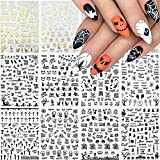 Halloween Nail Stickers, 3D Self-Adhesive Black Gold Horror Nail Art Decals Pumpkin Spider Bat Ghost Witch Skull Metallic Halloween Nail Design DIY Nail Decoration for Halloween Festival Party (12Sheets)