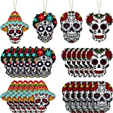 24 Pieces Halloween Ghost Ornaments Ghost Hanging Tag Wooden Ghost Hanging Sign Ornaments Wood Halloween Ghost Pendent Ghost Holiday Decorations with Ropes for Halloween Party, 4 Styles