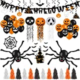 Decorlife Halloween Party Decorations, Halloween Decorations Indoor Including Happy Halloween Banner, Wire Lanterns, Hanging Swirls, Castle and Bats Centerpiece, Spiders and Web, Balloons