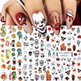 Autumn & Halloween Nail Stickers, 9 Sheets Skull Nail Decals 3D Self-Adhesive Fall Leaves Pumpkin Bat Ghost Spider Web Skeleton Pattern Nail Art Design for Thanksgiving Halloween Party