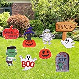 Newtion 8 Pack Halloween Yard Sign with Stakes - Waterproof Halloween Props Large Pumpkin Skeleton and Ghost Corrugate Mummy Tombstone Trick or Treat for Garden, Lawn, Yard,Party Thanksgiving Decorat