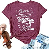 Funny Women I Solemnly Swear That I Am Up to No Good Novelty Print T Shirt Cute Graphic Letter Short Sleeve Halloween Tops,Purple S