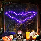 Halloween Window Bat Silhouette Lights, Purple Bat Iron Frame Lights with 8 Flicker Modes USB Operated and Remote Control for Halloween Party Decoration.